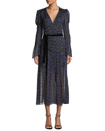 88844689ec321e Ani Floral-Print Smocked Silk Wrap Dress Quick Look. Diane von Furstenberg