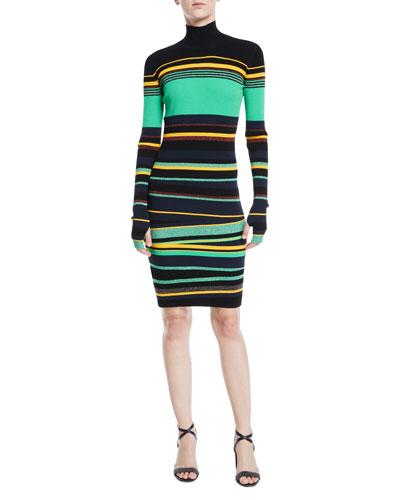 Finn Striped Metallic Long-Sleeve Turtleneck Dress