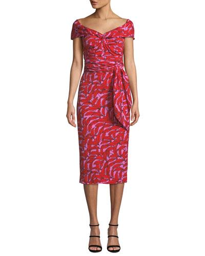 01b0bcc2be101 Delphine Printed Off-Shoulder Cocktail Dress