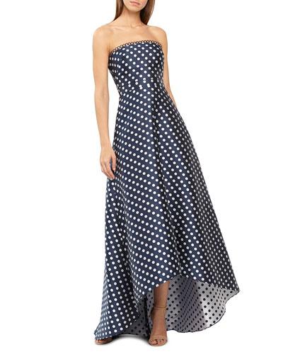 162f441c606 Strapless Polka-Dot High-Low Dress Quick Look. ML Monique Lhuillier