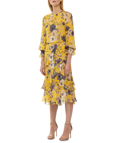 Crewneck 3/4-Sleeve Floral-Print Midi Dress w/ Ruffle Detail