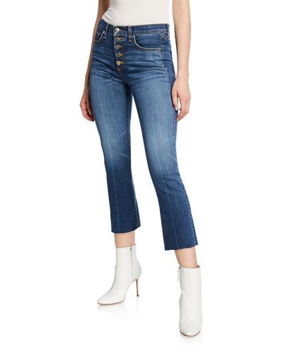 Carolyn Cropped High-Rise Jeans with Button Fly