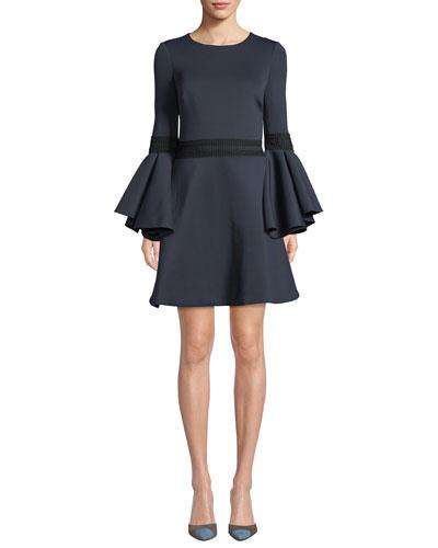 Oversized Trumpet-Sleeve Mini Dress