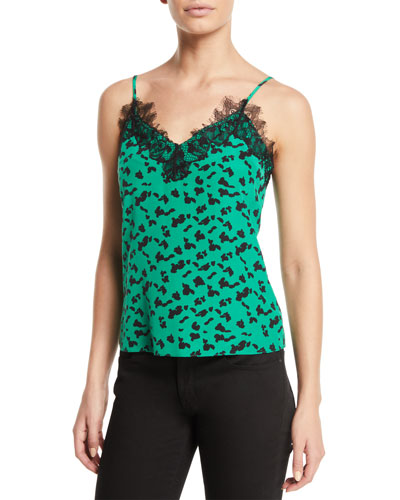 Gia Printed Cami with Lace Trim