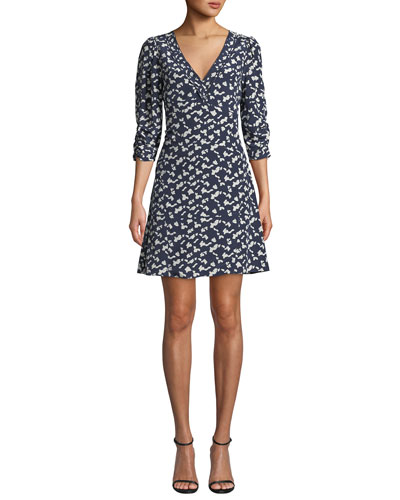 Dylan Printed Silk 3/4-Sleeve Short Dress