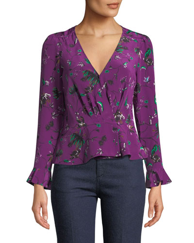 Clio Printed Bell-Sleeve Wrap Top