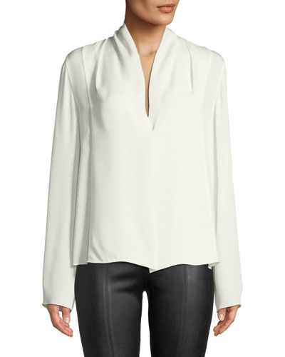 Draped-Neck Long-Sleeve Silk Blouse