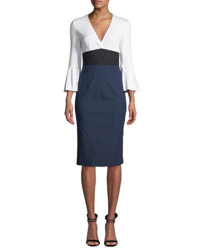 Lauren Colorblock Bell-Sleeve Midi Dress