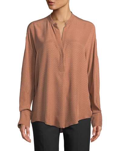 Dot Jacquard Band-Collar Popover Blouse