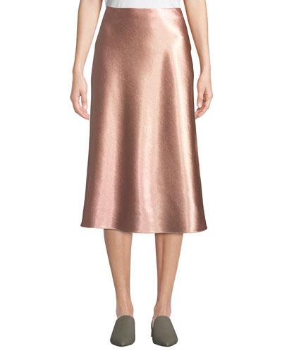 c16e07497565 Bias-Cut Satin Midi-Length Slip Skirt