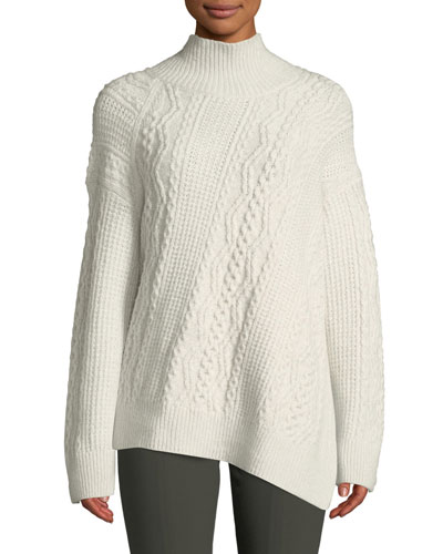 Diagonal Cable-Knit Turtleneck Sweater