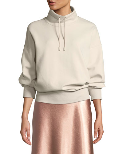 Funnel-Neck Dropped-Shoulder Pullover Sweatshirt
