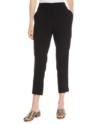 Crepe Satin-Stripe Cropped Pull-On Pants