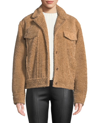Button-Front Sherpa Trucker Jacket