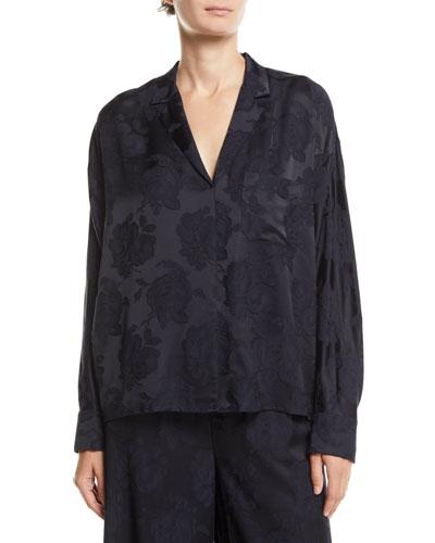 Floral Jacquard Pajama Popover Top