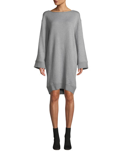 Cotton Terry Flare-Sleeve Shift Dress