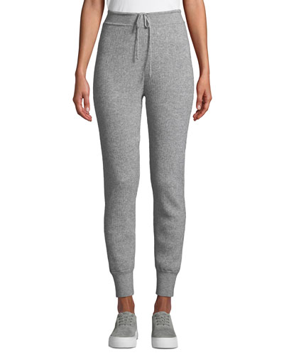 Ribbed Wool-Cashmere Jogger Pants