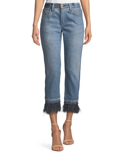Le Superbe Cropped Straight-Leg Jeans with Ostrich Feathers