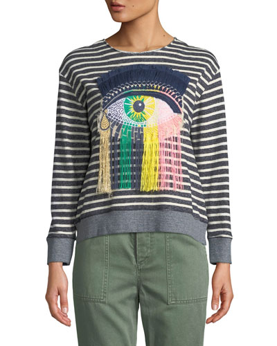Eye C U Striped Embroidered Sweatshirt
