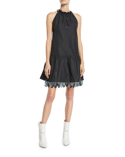 Sleeveless Tie-Neck Mini Dress w/ Layered Skirt