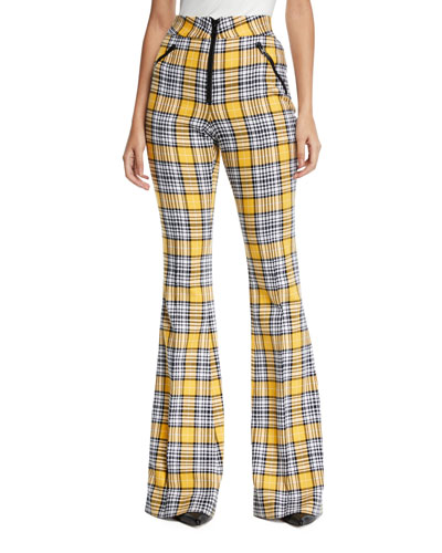 Fraser Plaid Flare-Leg Zip-Front Trousers
