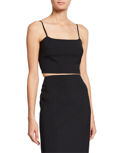 Washable Wool Square-Neck Crop Top