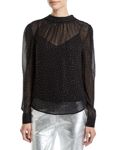 Melling Embellished Silk Long-Sleeve Top