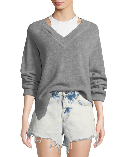 Long-Sleeve Wool Raglan Sweater with Tank