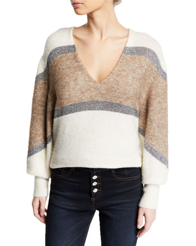 Miley Colorblock Metallic Pullover Sweater