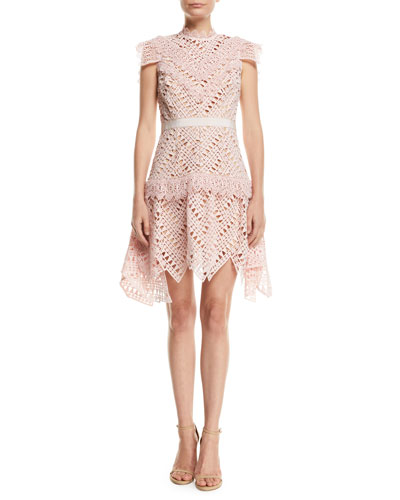 Abstract Triangle Lace High-Neck Short Dress
