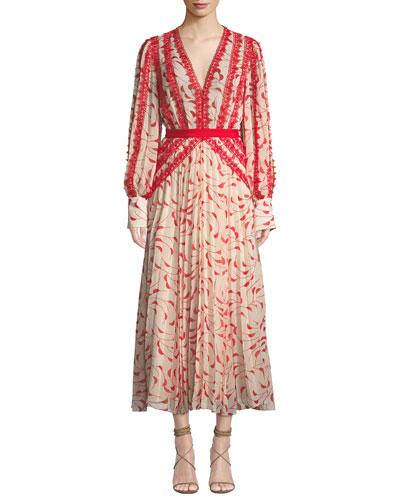 34aa04ad38 Printed Chiffon Lace Pleated Long-Sleeve Midi Dress Quick Look. Self- Portrait