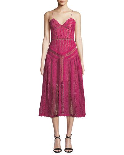 Floral Lace Sleeveless Midi Dress