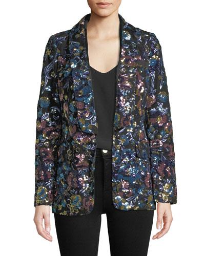 Floral Sequin Single-Button Jacket