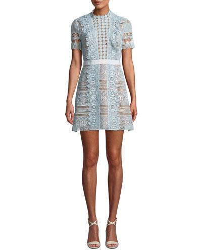 b25c1e605e4a1 Floral Lace Short-Sleeve Mini Dress Quick Look. Self-Portrait