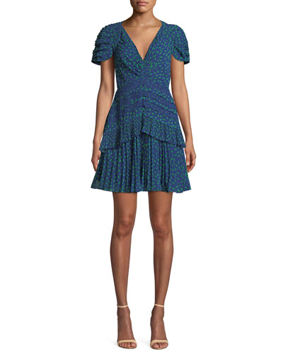 09a57ce8bc Dot-Print Chiffon Lace-Trim Short dress Quick Look. Self-Portrait