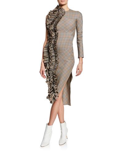 Checkered One-Sleeve Dress w/ Dramatic Ruffle