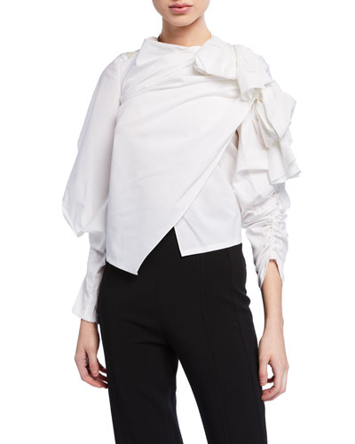 Gathered High-Neck Top w/ Exaggerated Sleeves