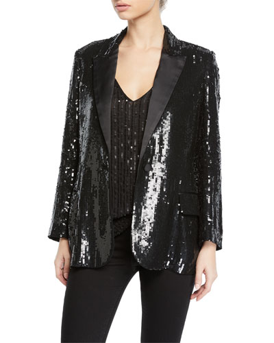 Neval Sequin Single-Button Blazer