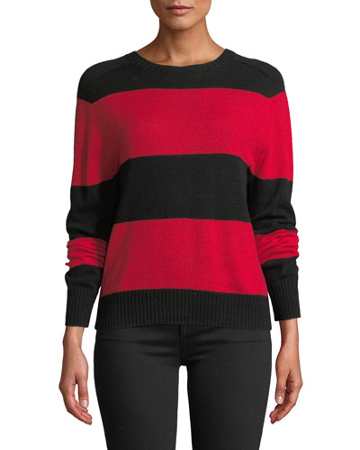 Striped Wool-Cashmere Pullover Sweater