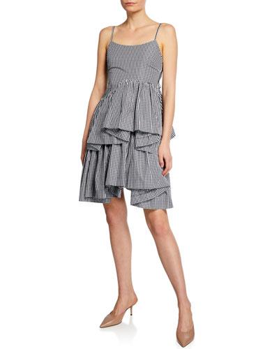 Asymmetrical Gingham Ruffle Short Dress
