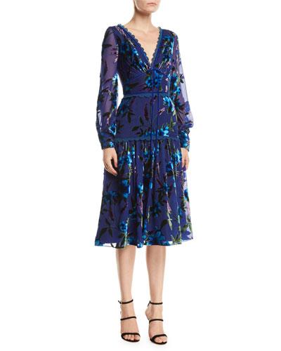Floral Velvet Burnout Bishop-Sleeve Dress