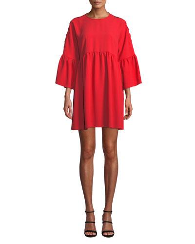 Slashed-Sleeve Flounce Short Babydoll Dress