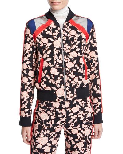 Floral Zip-Front Bomber Jacket