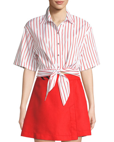 Striped Tie-Front Cropped Button-Down Top