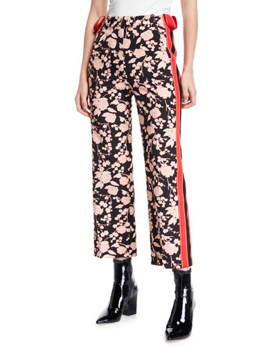 Floral-Print Sporty Side-Stripe Ankle Pants