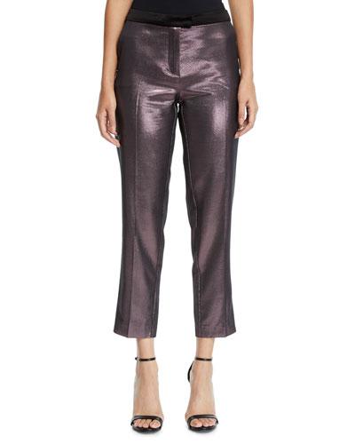 Metallic Cropped Straight-Leg Pants