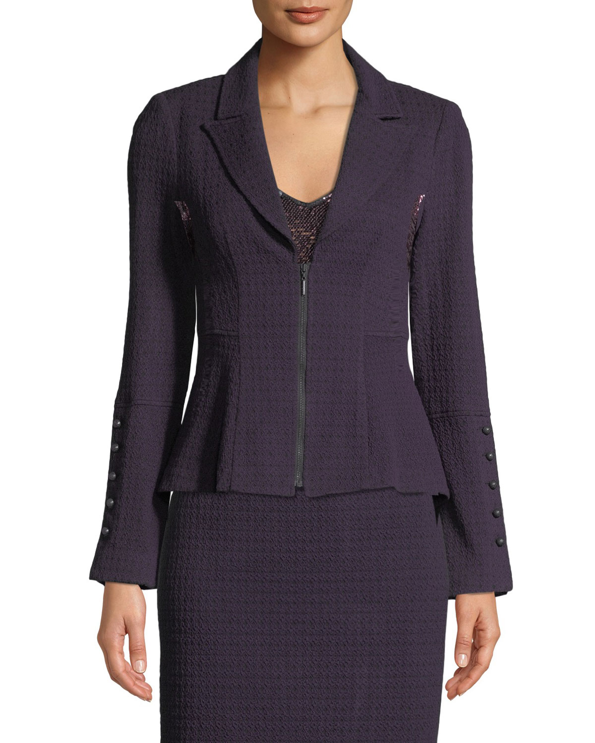 Nanette Lepore EXPEDITION ZIP-FRONT KNIT BLAZER