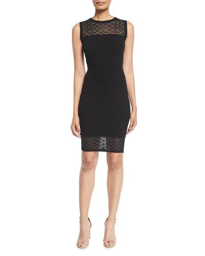 Sleeveless Translucent Texture Sheath Dress