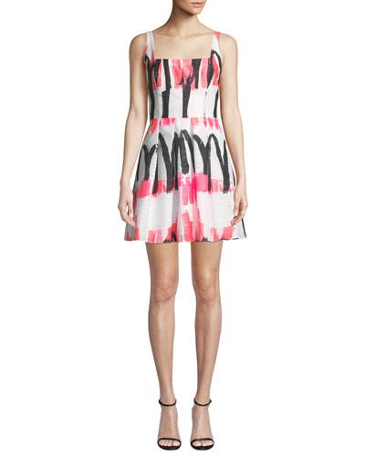 Camila Modern Scribble-Print Fit-&-Flare Dress