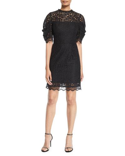 Kara Short-Sleeve Floral Lace Sheath Dress